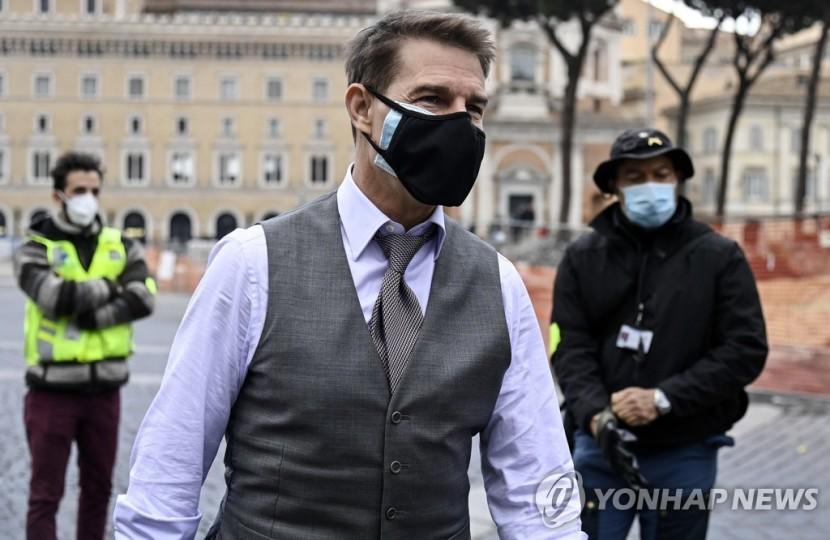 지난해 11월 29일 이탈리아에서 톰 크루즈가 영화 미션 임파서블 7을 촬영하고 있다. [EPA=연합뉴스 자료사진]