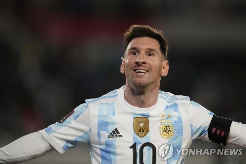 남미 선수 A매치 최다 골 기록을 경신한 메시.