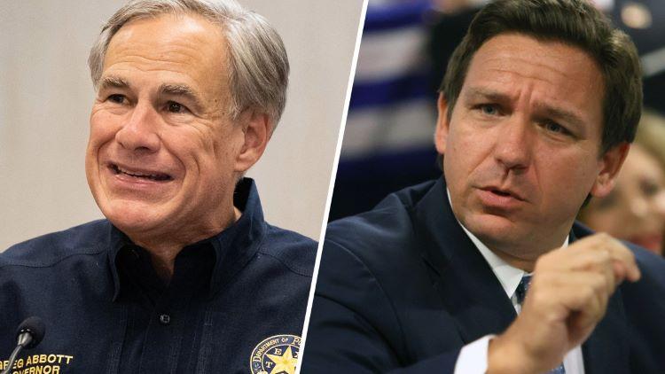함께 국경 안전에 관한 브리핑을 진행한 그렉 애봇 주지사(좌)와 론 드샌티스 플로리다 주지사(우) (사진 출처: NBC 5)