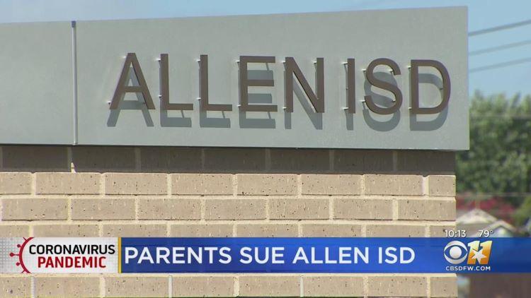 알렌 교육구 학부모들이 교육구를 상대로 마스크 착용 의무화를 요구하면서 집단 소송을 제기했다. (사진 출처: CBS DFW)