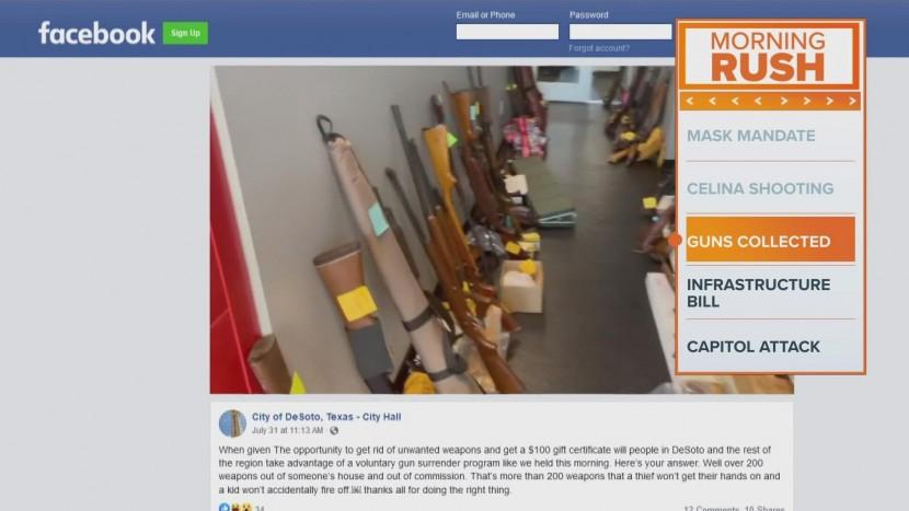 디소토 시에서 자발적 총기 포기 프로그램 행사가 열려 250정이 넘게 수거됐다. (사진 출처: WFAA)